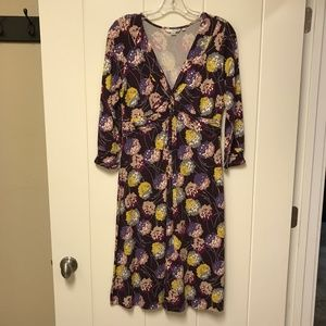 Boden Twist Front Jersey Dress Floral Purple 10